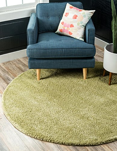 Unique Loom Solo Collection Plush Casual Light Green Round Rug (8' x (Green 8' Round Rug)