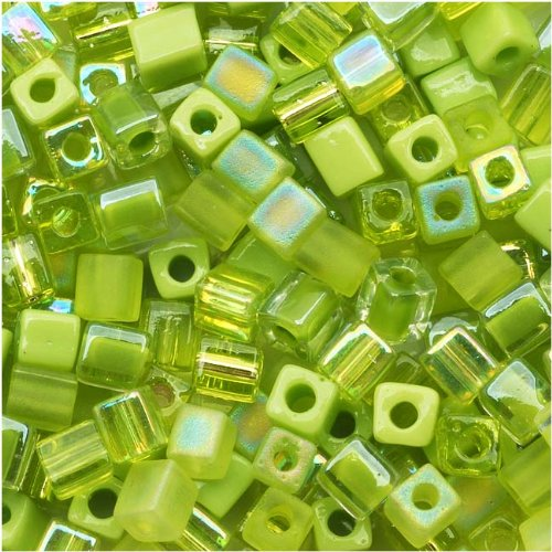- Miyuki 4mm Glass Cube Bead Mix Peridot Medley Green 10 Grams