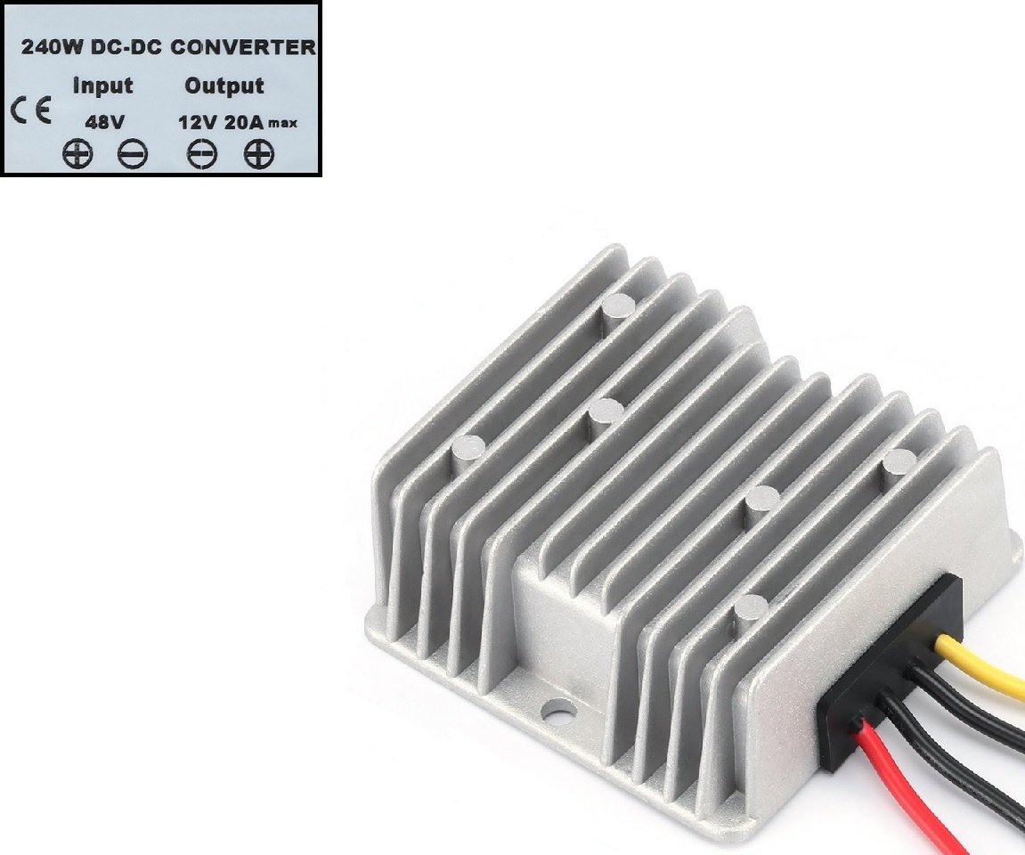 YIPBOWPT Club Car High Power Voltage Reducer - Buck Converter Regulator For Cart/Led Strip Light (24V Step Down to 12V 20A 240W - Waterproof)