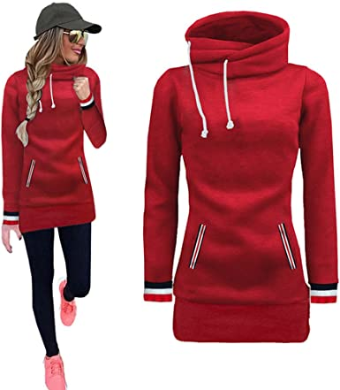YANG-YI Turtleneck Womens Sweatshirt Casual Ladies Long Sleeve Solid Hooded Pullover Tops Shirt