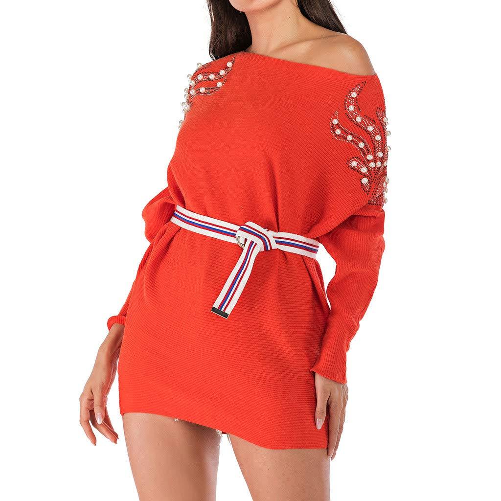 Yoyorule Autumn Pullover Top Fashion Women Skew Neck Long Sleeve Nail Beading Long Loose Knitted Sweater Top Orange