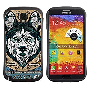 Hybrid Anti-Shock Bumper Case for Samsung Galaxy Note 3 / Cool Wolf