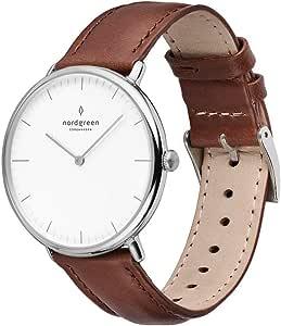 Nordgreen Reloj analógico de plata escandinava con correas intercambiables de cuero o malla