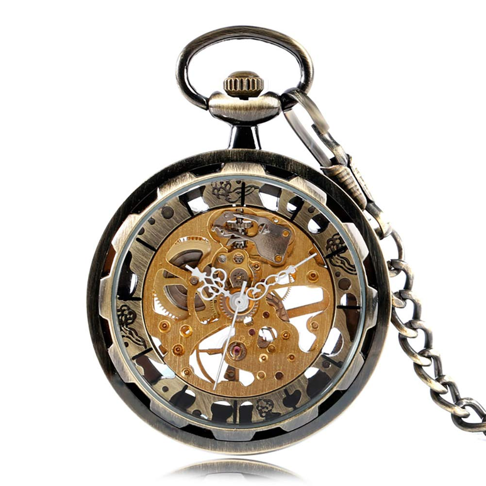 Antique Pocket Watch, Jewelry Hand Winding Mechanical Open Face Pocket Watch, Unique Gift for Men