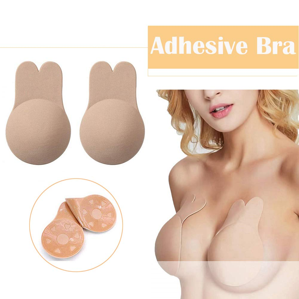 Mivyy Adhesive Bra, Backless Strapless Bra, Invisible Breast Lift & Nipple Cover Bra, Washable & Reusable Tape Sticky Bra for Women