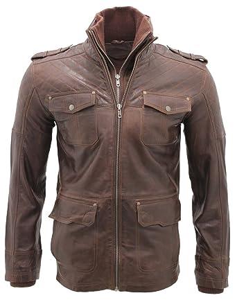 Hombres piel de oveja Marrón Nappa cuero Quilted chaqueta ...