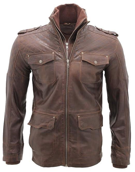 Hombres piel de oveja Marrón Nappa cuero Quilted chaqueta XS