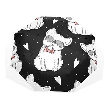 EZIOLY Paraguas de Viaje para Perros, Color Blanco, Ligero, Anti Rayos UV,