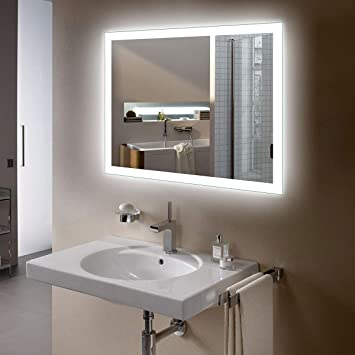 BHBL 28 x 36 in LED Backlit Mirror Wall Mounted Lighted Makeup Vanity  Mirror with Touch Button(N031,I)