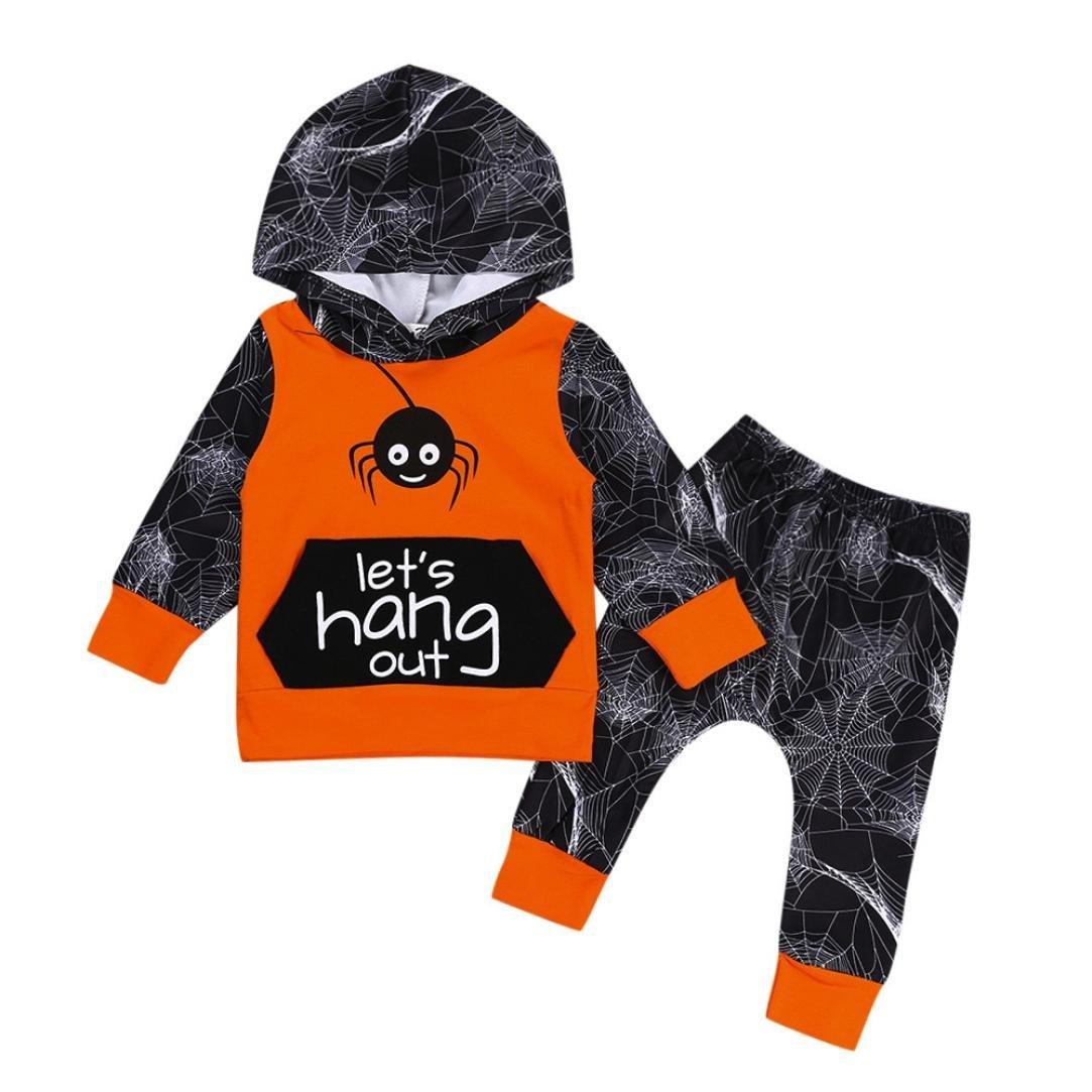 2 Stück Neugeborene Baby Halloween Kleidung Set Mädchen Junge Langarm Spinne Hoodies Kapuzenpulli Kapuzenpullover Tops + Hose Pants Outfits Set Kleinkind Kinder Weich Babykleidung