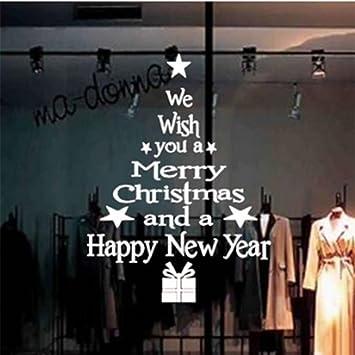 Yesiidor Frohe Weihnachten Baum Buchstaben Wandaufkleber Schöne ...