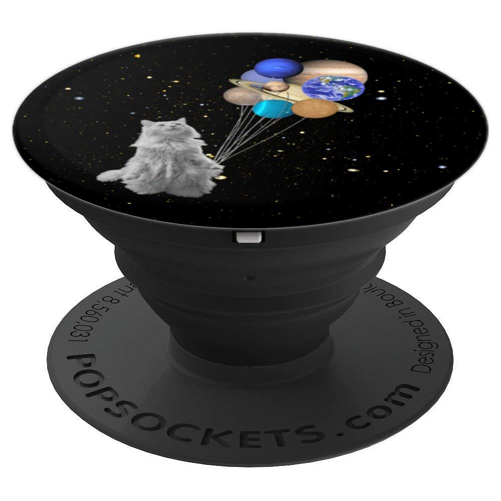Space Cat - Planets in Solar System with Pluto Gift, Black - PopSockets Grip and Stand for Phones and Tablets