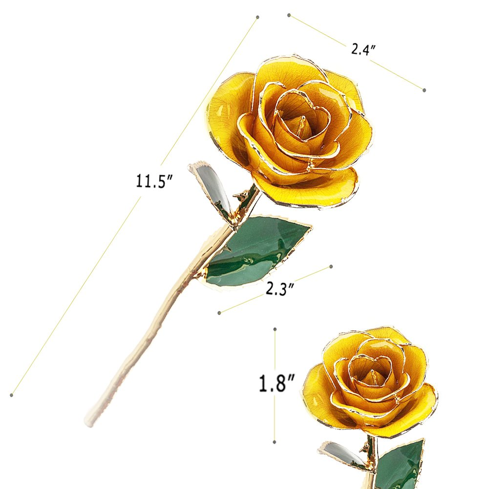 ZJchao Gifts for Women, Long Stem Dipped 24k Gold Trim Red Rose in Gold Gift Box with Stand Best Gift for Valentines/Mothers/Anniversary/Birthday/Galentine's Day(Yellow Rose with Stand) by ZJchao (Image #10)