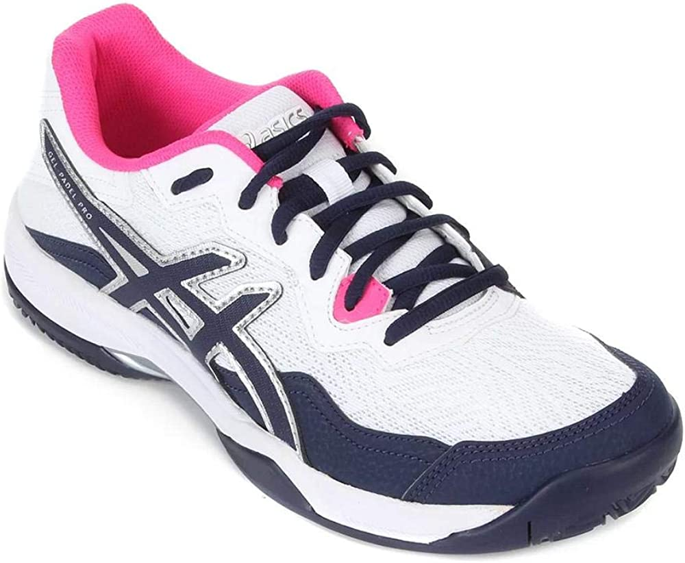 Asics Gel-Padel Pro 4, Walking Shoe Unisex-Adult, White/Peacoat, 32/32.5 EU