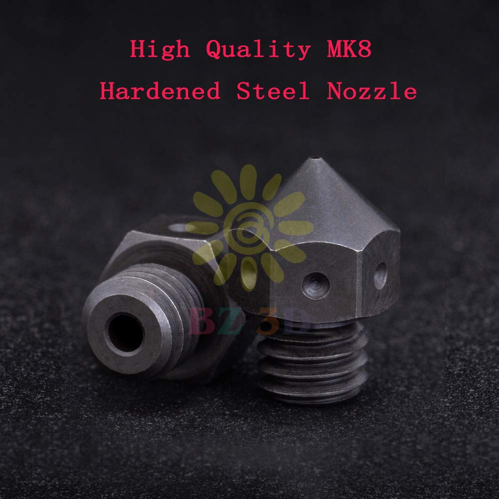 1 PCS BZ 3D MK8 Nozzle 1.75,0.4//0.6mm Top Quality Brass//Hardened Steel//Plated Copper for 3D Printers Hotend J-Head CR-10 Heat Block Ender 3//Pro Ender 5 Hotend M6 Thread Brass 0.4