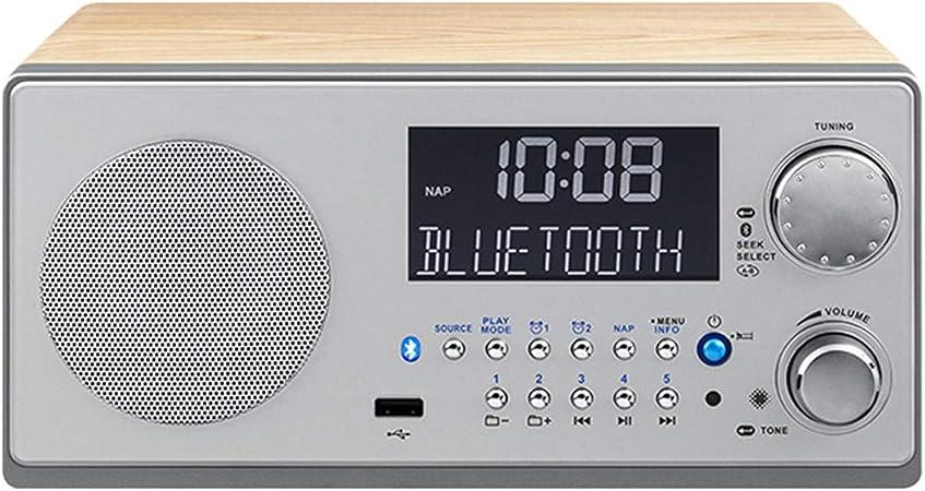 Réveil bois vintage haut parleur sans fil Bluetooth, lecteur