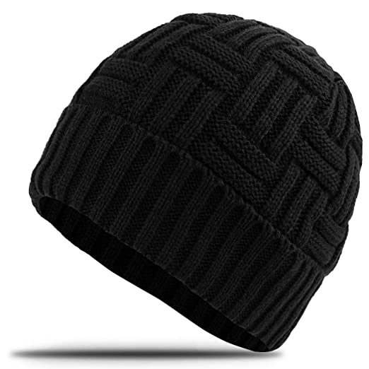 7a0e31f4c2bd1 OKISS Mens Winter Hats Warm Boys Slouchy Beanie Hat Soft Thick Knitting  Hats Skull Cap Black