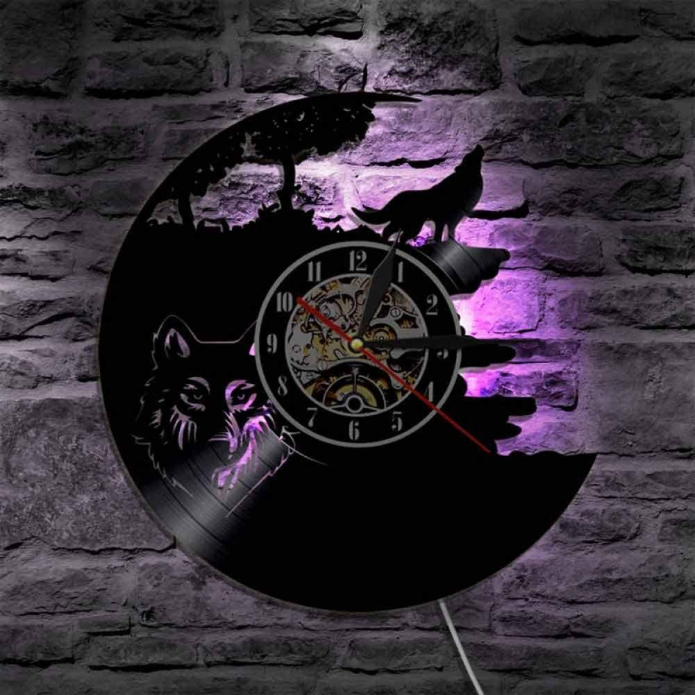 Wolf Modelo Vinyl Record Reloj de Pared Reloj de Vinilo de diseño Moderno Reloj Decorativo Exclusivo 7D con 7 variaciones de Color Decoración del hogar