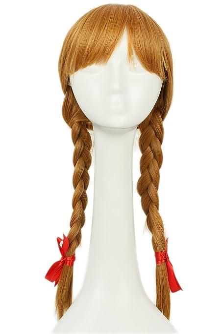 Mesky Peluca de Annabelle para Mujeres Disfarz de Niña Larga con Trenzas Wig Long para Cosplay