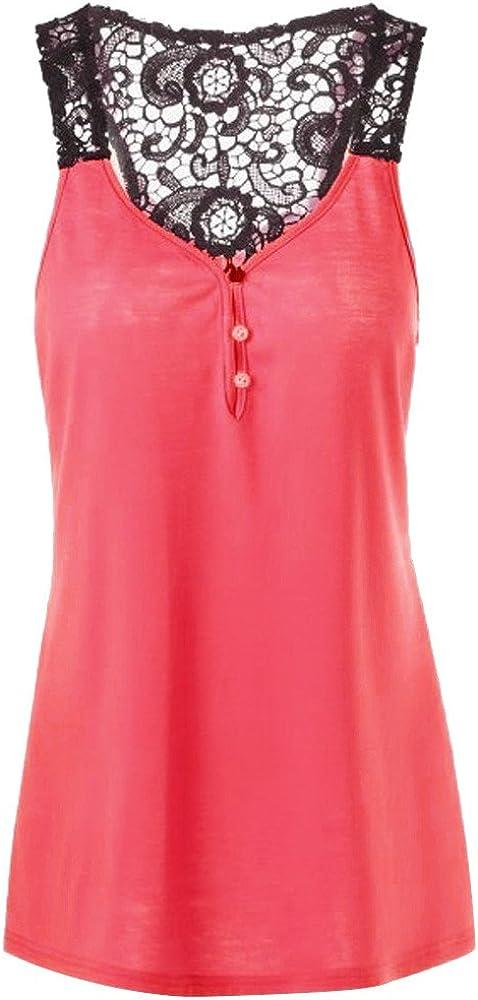 Rovinci/_Womens Clothing Plus Size Tank Tops Womens Lace Patchwork Backless Button Blouse Top Shirt Crop Tank Vest Ladies Party Concert Dance Show Elegant Summer Dress