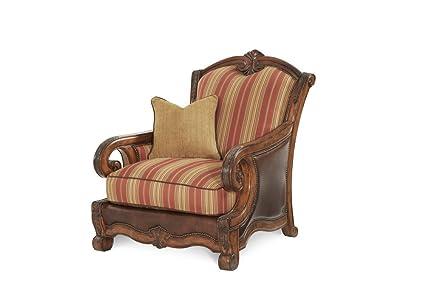 Michael Amini 34934 BRICK 26 Tuscano Wood Trim Leather/Fabric Chair,  Biscotti
