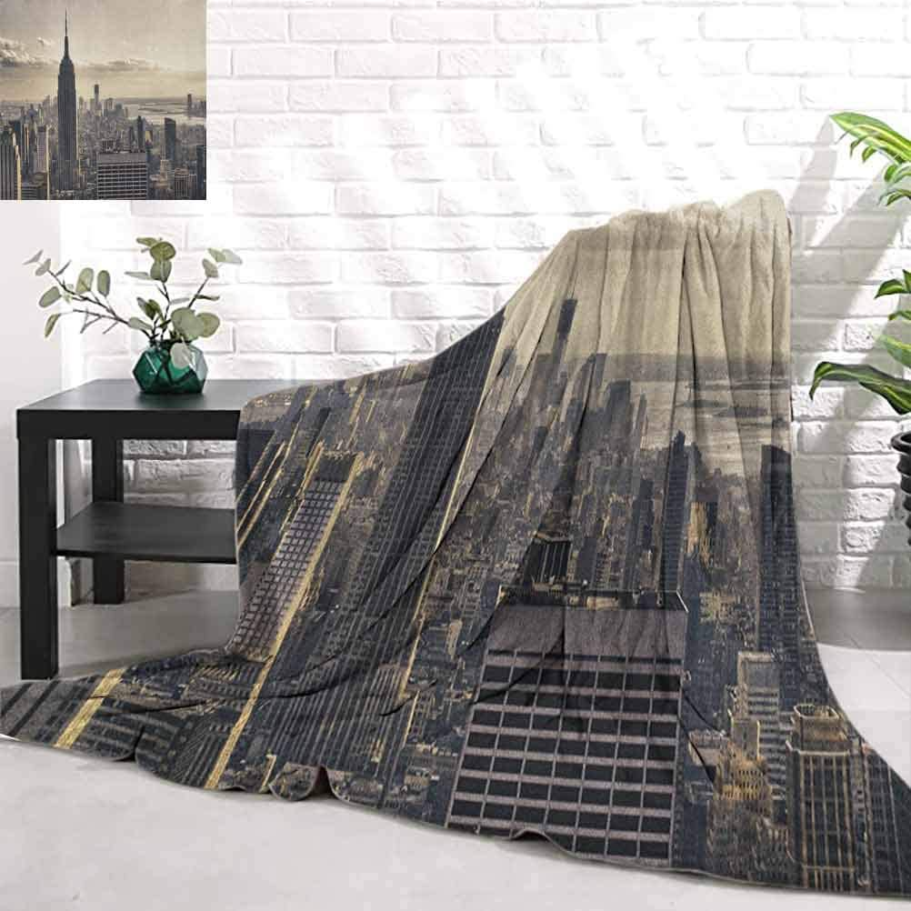New York,Aerial View of NYC in Winter American Architecture Historical Popular Metropolis, Beige Grey Soft Lightweight Couch Sofa Bed Decorative Throw Blanket W80 x L70 Inch