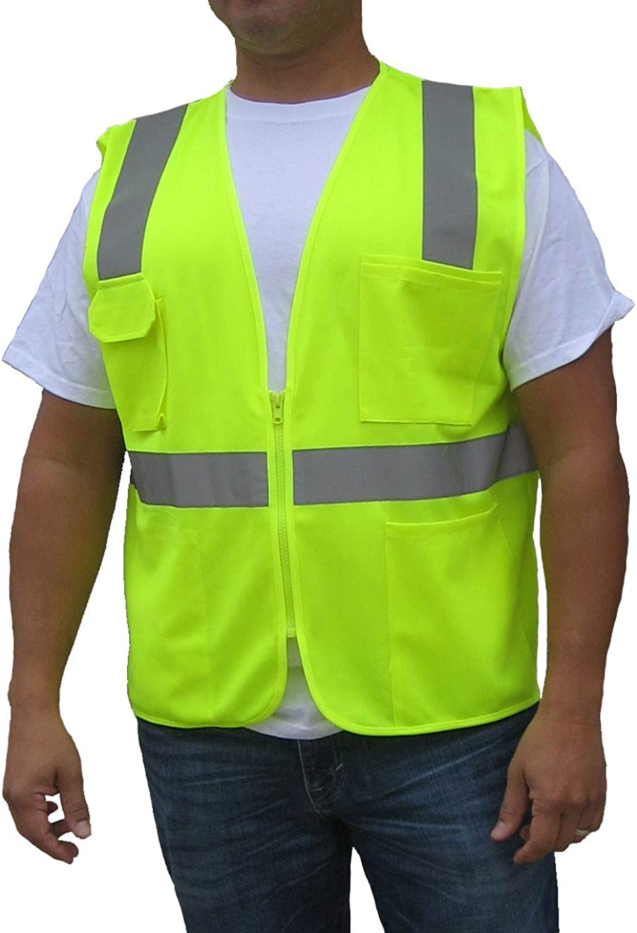ANSI//ISEA Compliant 3C Products Class 2 Mens Safety Surveyor Vest NEON Orange