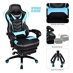 Video Gaming Chair Racing Office - Reclining PU Leather High Back Ergonomic Adjustable Swivel Executive Computer Desk Large Size Footrest Headrest Lumbar Support Adjustable arms Cushion (Sky Blue)