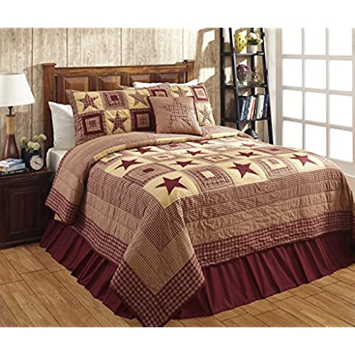 Beau Colonial Star Burgundy And Tan Primitive Country Quilt Set   3 Piece  (Queen/Full (3 Pc))