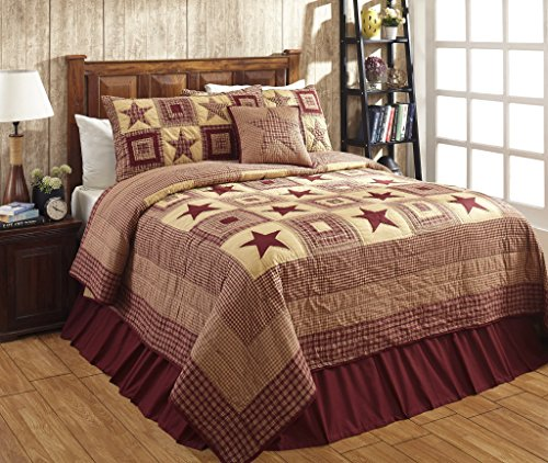 Colonial Star Burgundy and Tan Primitive Country Quilt Set - 5 Piece (Twin (4 pc)) - Country Bedding Sets Twin