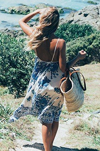 Largos Estampados Blanco Mujer Flores Estilo Vestidos Vestidos Sin Verano Beach Chaleco Espalda Bohemio Playa Sin Vestido Vestidos Mangas Fashion Vintage Casual Elegante FX1q44OwA