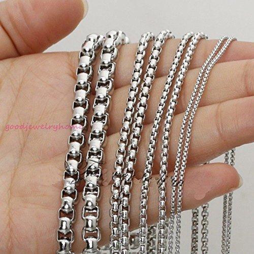 FidgetKute 1//2//3//4//5//7MM Silver Stainless Steel Men//Womens Round Box Chain Necklace 16-40 40 inch or 101cm 5mm