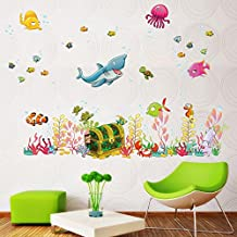 AWAKINK(TM) Under the Sea Decals Whales The Deep Blue Sea Decorative Peel Vinyl Wall Stickers Wall Decals Removable Decors for Bedrooms Kids Rooms Baby Nursery Boys and Girls Bedroom