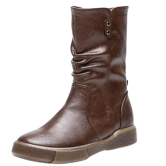 46a93b24ebf MYMYG Black Friday Botas Ajustado para Mujeres con Estilo Botines Planos de  Mujer de Estilo Vintage Zapatos Suaves y Ajustados Botines de pies Botas ...