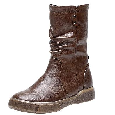 YWLINK Damen Pu Stiefel Einfach Klassisch Flache Schuhe
