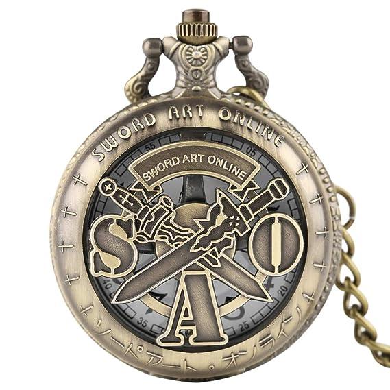 Sword Art Online - Reloj de Bolsillo de Cuarzo, Estilo Vintage, Bronce, diseño de Espada Hueca, Regalo para Hombres: Amazon.es: Relojes