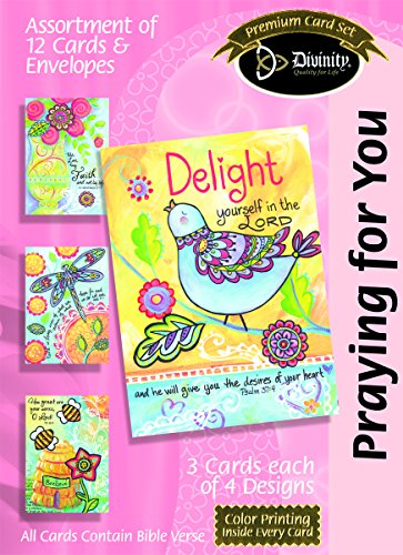 Divinity Boutique Greeting Card Assortment: Praying for You Dragonfly Bird Bees (21196N)