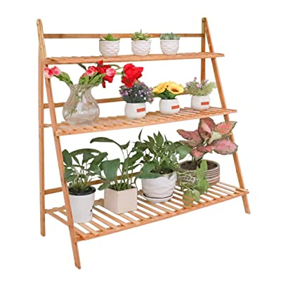 Bamboo 3 Tier Ladder Plant Stand Flower Pot Rack Holder Foldable Planter Shelves Organizer Indoor Home Garden Patio Decors (100cm Length) : Garden & Outdoor
