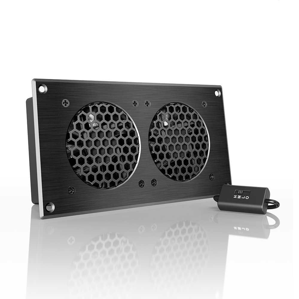 AC Infinity AIRPLATE S5, Quiet Cooling Fan System 8'' with Speed Control, for Home Theater AV Cabinets