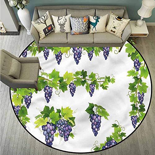 Living Room Round Mat,Vine,Green Leaf Cluster of Berries,Anti-Static, Water-Repellent Rugs,4'11