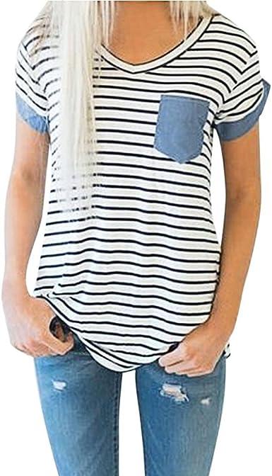 Camisas Mujer Ropa de Mujer de Moda Camiseta Tops de Rayas de Manga Corta para Mujer Blusa de Patchwork Xinantime: Amazon.es: Ropa y accesorios