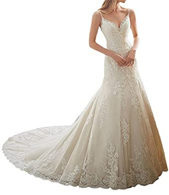 VEPYCLY Womens Gorgeous Sweetheart Applique Lace Beading Wedding Dresses For Bride Ivory 2