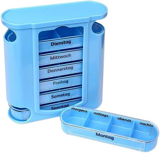 Schramm®Tablet Box Azul con Deslizadores Azules Pastillero de 7 ...