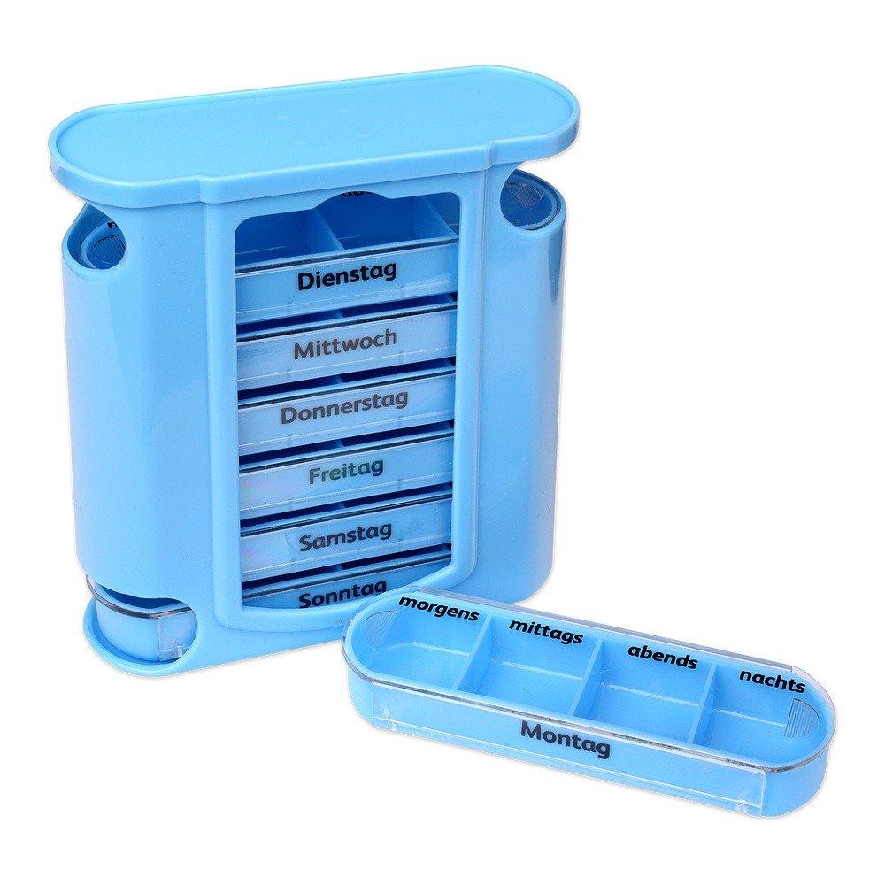 S/O® Pilulier 7jours Bleu avec schiebern bleus Pilules Pilulier Boîte Tablette Boîte comprimés piluliers Boîtes Pilules comprimés boîte Semaine Doseur Schramm Onlinehandel