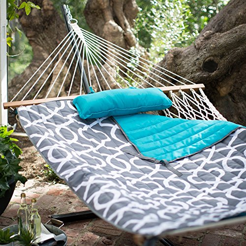 Algoma 11 ft. Cotton Rope Hammock with Metal Stand Deluxe Set (1)