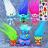 Trolls Figures | Dreamworks Movie Troll Dolls | Poppy And Friends + Trolls Stickers | 6 Piece Set 4-7cm Toys | By ToysOutLet_USA