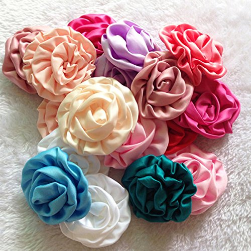 Satin Flower Embellishments (KADIWOW 2.5 Inch Rosettes Satin Rose Fabric Flowers Hair Bow Headbands Making Embellishments (25pcs of pack) (#4))