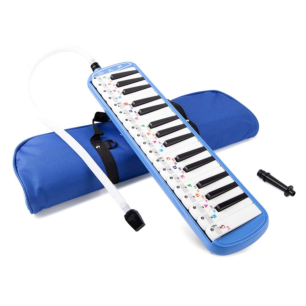 Vangoa Blue 32 Key Portable Melodica With Carrying Bag, Melodica Sticker For Music Lovers Beginners Gift
