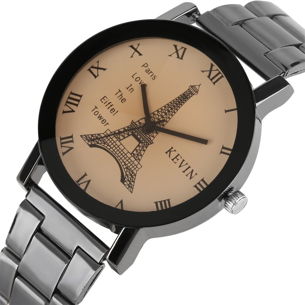 Mens Watches,Fashion Casual Quartz Watch with Comfortable Stainless Steel Band-Roman Numeral Luxury Watch for Men (Coffee) by Kevin