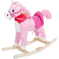 Baybee Unicorn Horse Wooden Plush Rocking Horse with Realistic Sounds   Safely Holds Children ( Pink )
